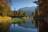 Autumn at the Eibsee below the Zugspitze, Werdenfelser Land, Bavaria, Germany