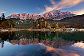 Autumn at the Eibsee, view to the Zugspitze, moon reflected in the water, Werdenfelser Land, Bavaria, Germany
