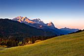 Dawn, view of the Zugspitze massif with Alpspitze, Zugspitze and Waxenstein, Werdenfelser Land, Bavaria, Germany