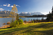 Autumn at the Barmsee, view to the Karwendel, Werdenfelser Land, Bavaria, Germany