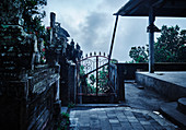 Temple gate at dusk, Bali, Indonesia