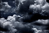 Dramatic billowing clouds during the wet season in Central Kalimantan, Borneo, Indonesia