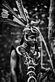 An indigenous male in traditional Dayak warrior costume, a hornbill head dress, in Central Kalimantan, Borneo, Indonesia.