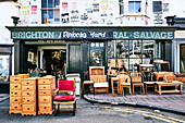 A secondhand furniture shop near the laneways in Brighton, East Sussex, UK.