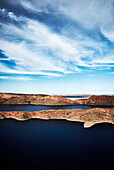 Aerial view of Lake Argyle, one of the largest lakes in the southern hemisphere, at sunset, Lake Argyle, The Kimberley; Western Australia, Australia.