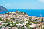 Lipari Town, elevated view, Lipari Island, Aeolian Islands Sicily, Italy