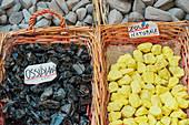 Volcanic rock souvenirs, Lipari Island, Aeolian Islands, Sicily, Italy,