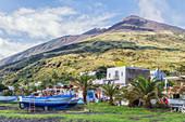 Houses and boats, Stromboli, Aeolian Islands, Sicily, Italy
