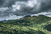 View from the Klomnockrundweg in south direction to the small Rosennock and Rosennock, Carinthia, Austria, Europe.