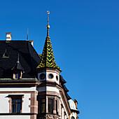 Turrets on the west gable of the Predigerhaus at Nikolaikirchhof, Leipzig, Saxony, Germany