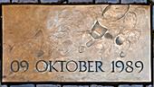 "Commemorative plaque ""09 OCTOBER 1989"" on the pavement of the Nikolaikirchhof, Leipzig, Saxony, Germany"
