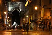 The Arco da Rua Augusta at night, Lisbon, Portugal, Europe