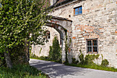 Old archway in Polling Monastery in spring, Polling, Weilheim, Bavaria, Germany, Europe