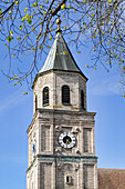 Church tower of the Polling Monastery in spring, Polling, Weilheim, Bavaria, Germany, Europe
