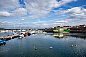 View of the harbor next to the Ville Close of Concarneau, Brittany, France, Europe