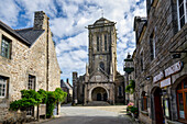 View of the Church of St. Ronan, Locronan, Finistère, Châteaulin, Brittany, France