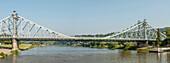 "Panorama of the ""Blaues Wunder"" bridge (Loschwitzer Bridge) of Dresden, Saxony, Germany"