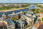 View from the Frauenkirche over the old town and the Elbe valley of Dresden, Saxony, Germany