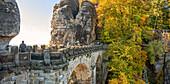 Bastei rock bridge in autumn, Saxon Switzerland, Saxony, Germany