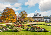 The New Palace in the Pillnitz Palace Park in Dresden in autumn, Saxony, Germany