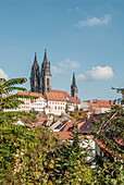 View over the historic old town of Meissen with the Meissen Cathedral in the background; Saxony; Germany