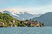 View of Varenna on Lake Como seen from the lake side, Lombardy, Italy
