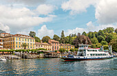 Car ferry on the promenade of Bellagio on Lake Como, Lombardy, Italy