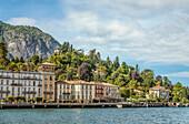 Lake promenade of Cadenabbia on Lake Como seen from the lake side, Lombardy, Italy