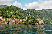 Lake promenade of Varenna on Lake Como seen from the lake side, Lombardy, Italy