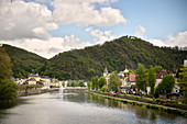 """View over the Lahn to the spa town of Bad Ems, UNESCO World Heritage Site """"Important Spa Towns of Europe"""", Rhineland-Palatinate, Germany"""