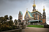 """Russian Orthodox Church and the wedding tower, UNESCO World Heritage Site """"Mathildenhöhe Darmstadt"""", Darmstadt, Hesse, Germany"""