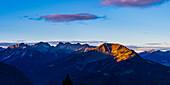Panorama from Rubihorn, 1957m, to Fellhorn, 2038m, and Söllereck, 1706m, Allgäu Alps, Allgäu, Bavaria, Germany, Europe