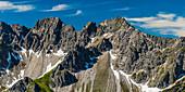 Mountain panorama from Fellhorn, 2038m, to Hochgehrenspitze, 2251m and Walser Hammerspitze, 2170m, Allgäu, Bavaria, Germany, Europe