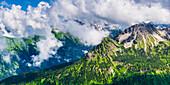 Panorama from Fellhorn, 2038m, to the cloud-covered Allgäu main ridge, Allgäu, Allgäu Alps, Bavaria, Germany, Europe
