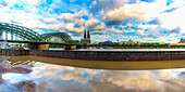Hohenzollern Bridge, Cologne Cathedral, Central Station and Musical Dome, Cologne, North Rhine-Westphalia, Germany, Europe