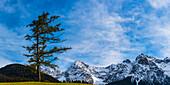 Panorama of the Karwendel near Mittenwald, Werdenfelser Land, Upper Bavaria, Bavaria, Germany, Europe