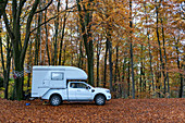Van with add-on cabin in the forest in a park on the Alster near Hamburg, Germany