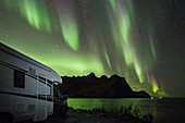 Motorhome and polar lights, aurora borealis, northern lights, Tjongsfjorden, Norway, Scandinavia