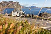 Motorhome on the coast, Henningsvaerstraumen, Lofoten, Norway