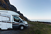 Motorhome on the coast near Storvik, Norway