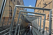 Escalators take you to the higher lanes of the old town, Vittoria-Gasteiz, Basque Country, Spain