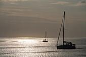Segelboote in der Abenddämmerung am Meer, Kungsbacka, Halland, Schweden