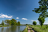 View of the Göta Canal with bike path at Norrqvarn, Västra Götaland, Sweden