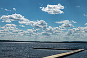 View of a boardwalk on a lonely lake, near Dorotea, Lapland Province, Sweden