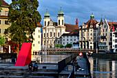 View from the Spreuerbrücke with Jesuit Church, Lucerne, Switzerland