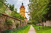 Segringer Tor and city wall in Dinkelsbuehl, Bavaria, Germany