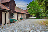 City wall buildings at the digestion tower in Dinkelsbuehl, Bavaria, Germany