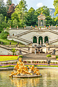Water parterre in the park of Linderhof Palace, Ettal, Bavaria, Germany