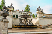 Najadenbrunnen on the terrace garden of the water parterre in the park of Linderhof Palace, Ettal, Bavaria, Germany