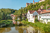 River Wörnitz in Harburg in summer, Swabia, Bavaria, Germany